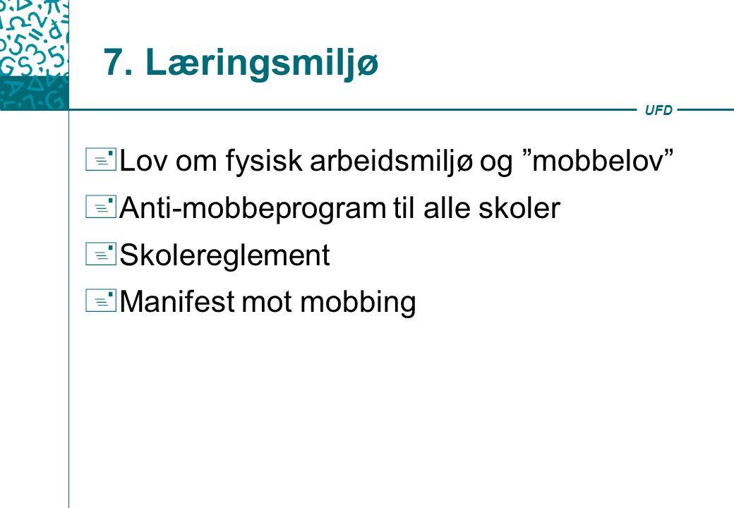 """UFD 7. Læringsmiljø + Lov om fysisk arbeidsmiljø og """"mobbelov"""" + Anti-mobbeprogram til alle skoler + Skolereglement + Manifest mot mobbing"""