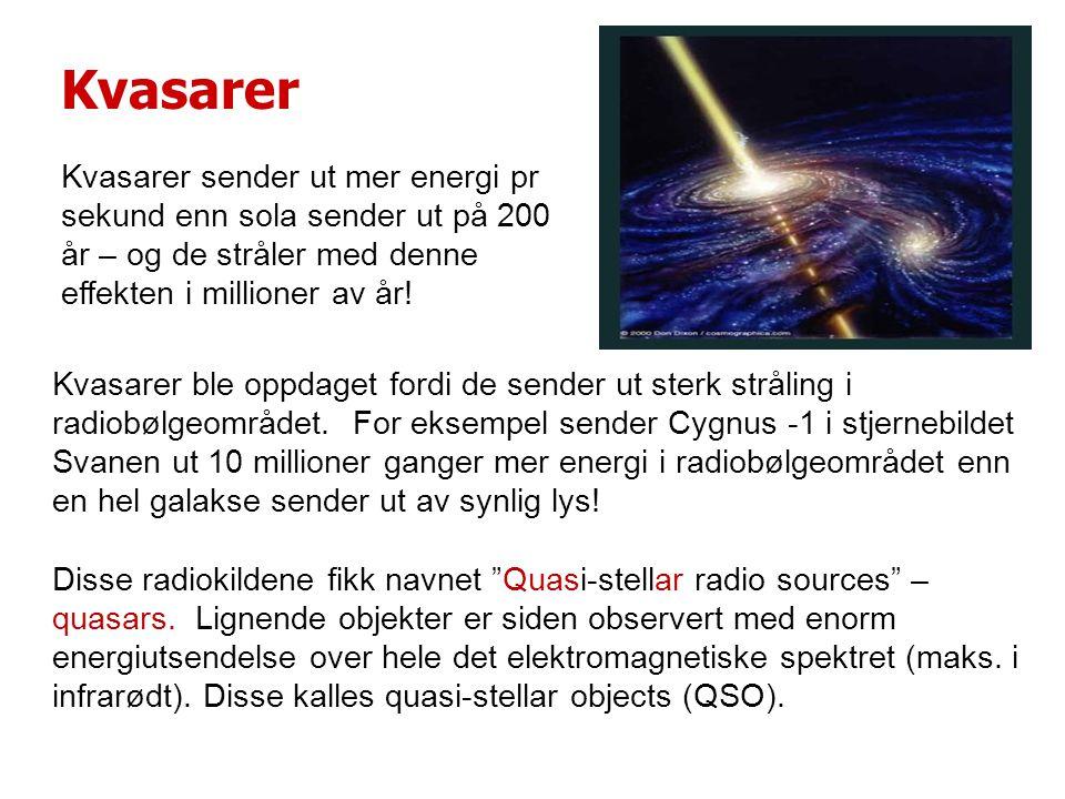 Kvasarer Kvasarer sender ut mer energi pr sekund enn sola sender ut på 200 år – og de stråler med denne effekten i millioner av år.
