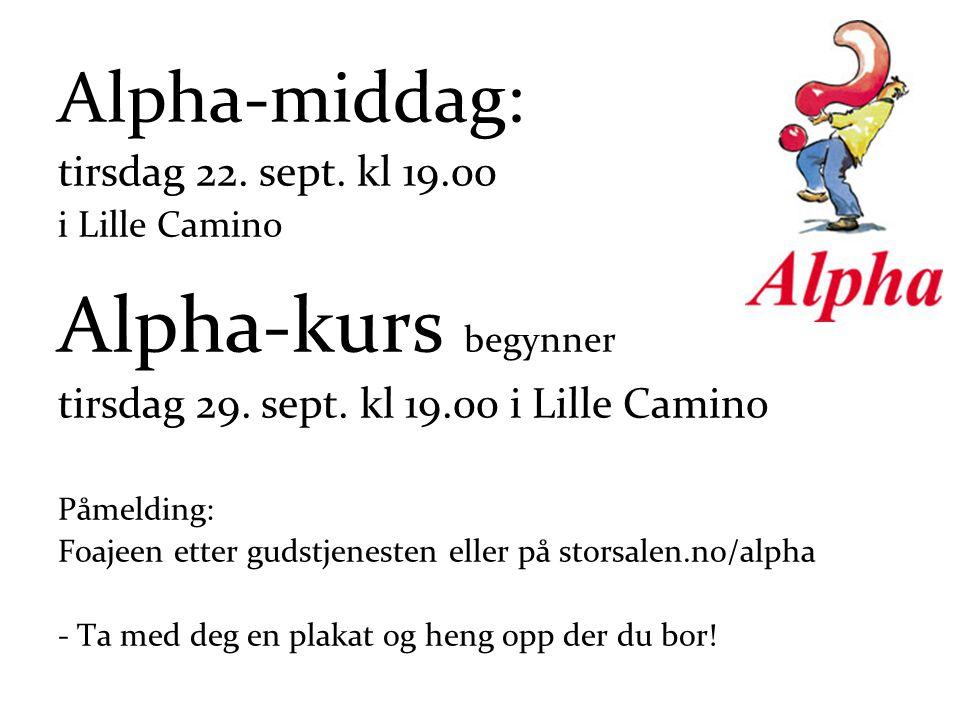 Alpha-middag: tirsdag 22. sept. kl 19.00 i Lille Camino Alpha-kurs begynner tirsdag 29.