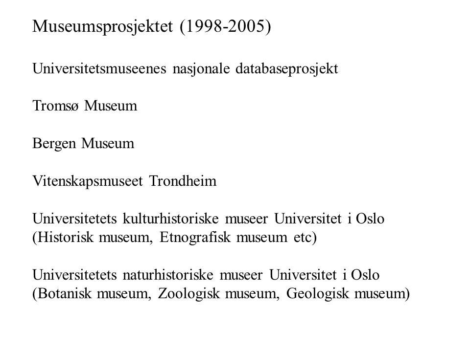 Museumsprosjektet (1998-2005) Universitetsmuseenes nasjonale databaseprosjekt Tromsø Museum Bergen Museum Vitenskapsmuseet Trondheim Universitetets ku