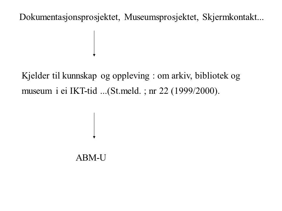 Dokumentasjonsprosjektet (1990-1997) Samarbeid mellom: Universitetet i Bergen, Universitetet i Oslo, Universitetet i Trondheim og Universitetet i Tromsø.