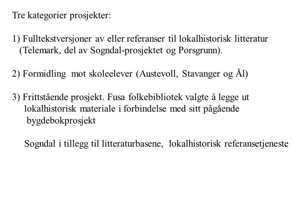 Tre kategorier prosjekter: 1) Fulltekstversjoner av eller referanser til lokalhistorisk litteratur (Telemark, del av Sogndal-prosjektet og Porsgrunn).