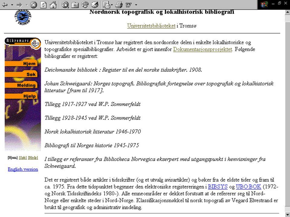 Gjenstandsmateriale (kataloger, foto, tekst -> beskrivelse) (felles database for gjenstandshåndtering) Ulike registreringsdata: tidsepoke, funnsted og finner, samt konserveringsopplysninger og lagringsmåte