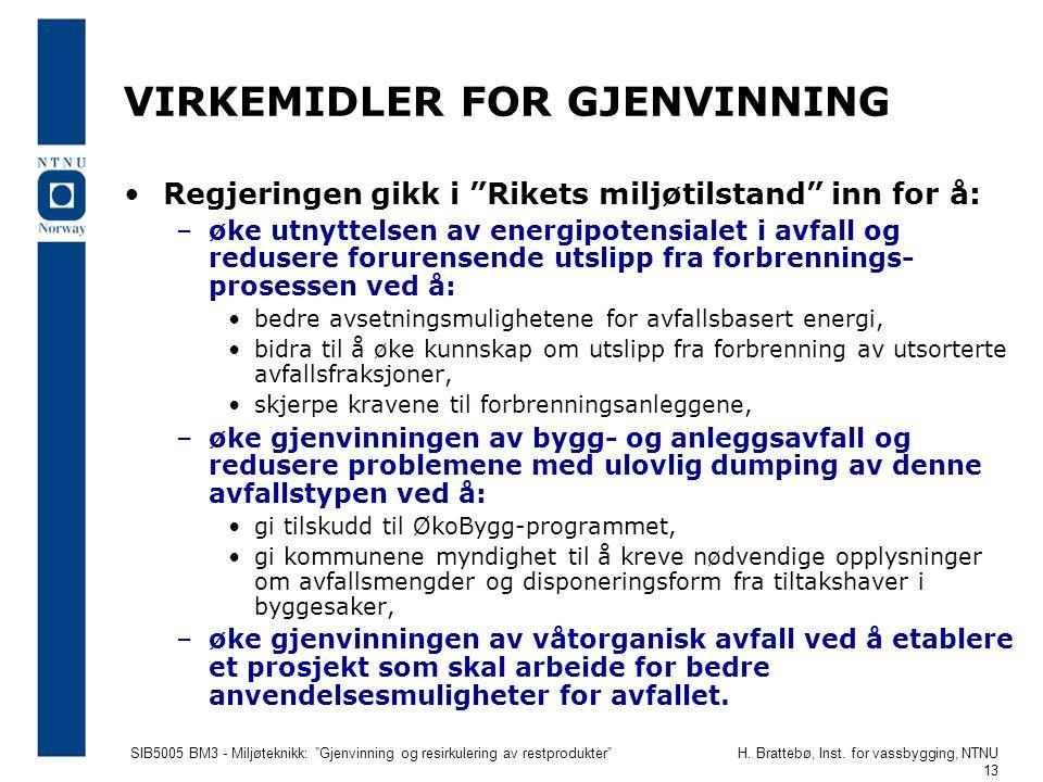 """SIB5005 BM3 - Miljøteknikk: """"Gjenvinning og resirkulering av restprodukter""""H. Brattebø, Inst. for vassbygging, NTNU 13 VIRKEMIDLER FOR GJENVINNING Reg"""