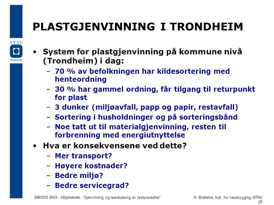 """SIB5005 BM3 - Miljøteknikk: """"Gjenvinning og resirkulering av restprodukter""""H. Brattebø, Inst. for vassbygging, NTNU 28 PLASTGJENVINNING I TRONDHEIM Sy"""