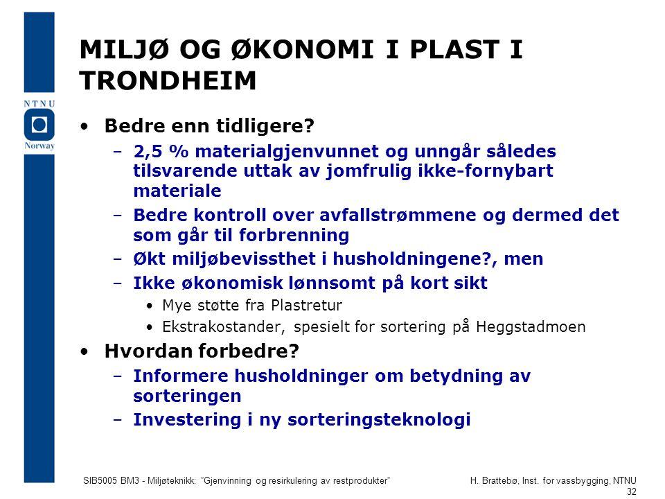 """SIB5005 BM3 - Miljøteknikk: """"Gjenvinning og resirkulering av restprodukter""""H. Brattebø, Inst. for vassbygging, NTNU 32 MILJØ OG ØKONOMI I PLAST I TRON"""