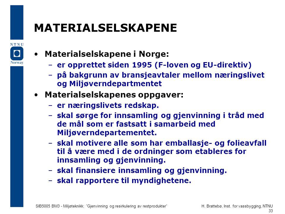 """SIB5005 BM3 - Miljøteknikk: """"Gjenvinning og resirkulering av restprodukter""""H. Brattebø, Inst. for vassbygging, NTNU 33 MATERIALSELSKAPENE Materialsels"""