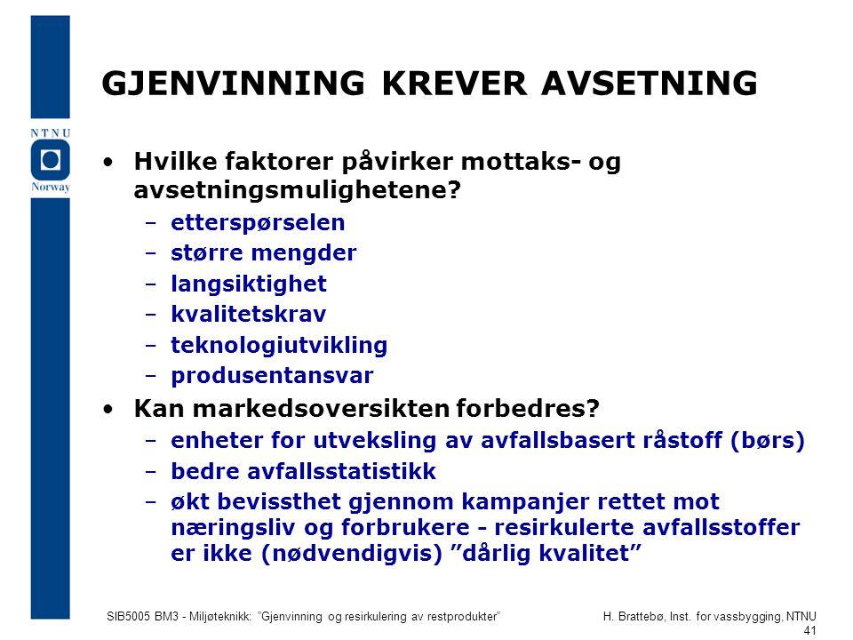"""SIB5005 BM3 - Miljøteknikk: """"Gjenvinning og resirkulering av restprodukter""""H. Brattebø, Inst. for vassbygging, NTNU 41 GJENVINNING KREVER AVSETNING Hv"""