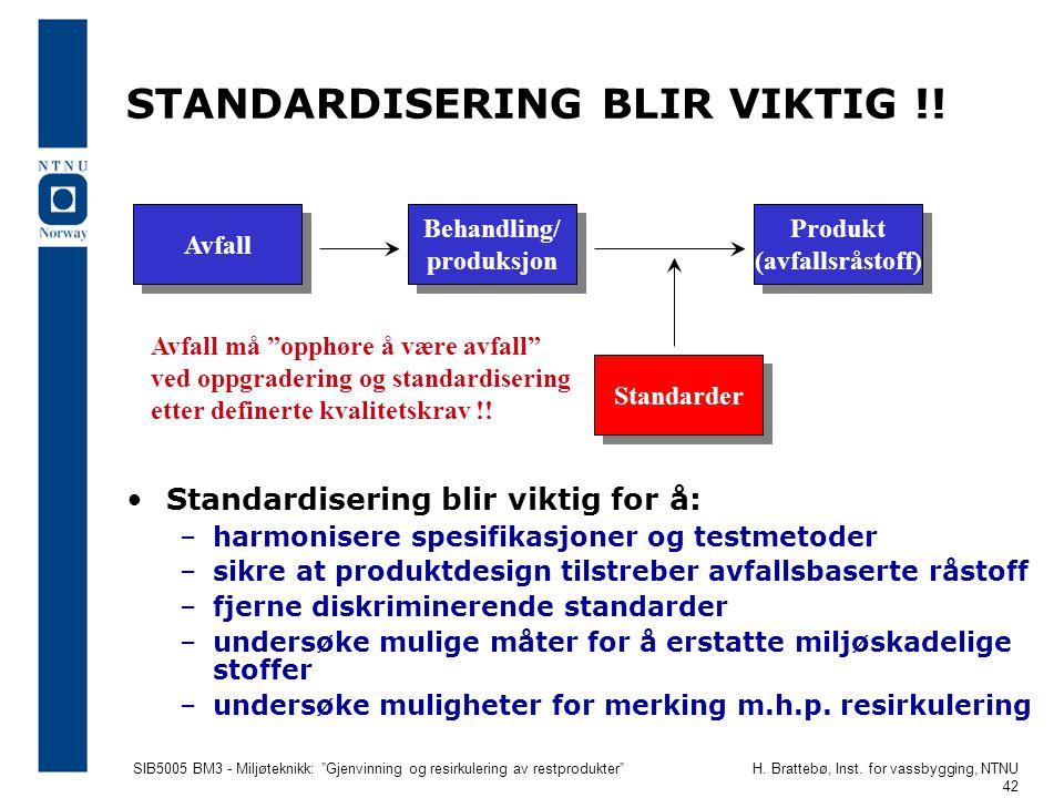 """SIB5005 BM3 - Miljøteknikk: """"Gjenvinning og resirkulering av restprodukter""""H. Brattebø, Inst. for vassbygging, NTNU 42 STANDARDISERING BLIR VIKTIG !!"""