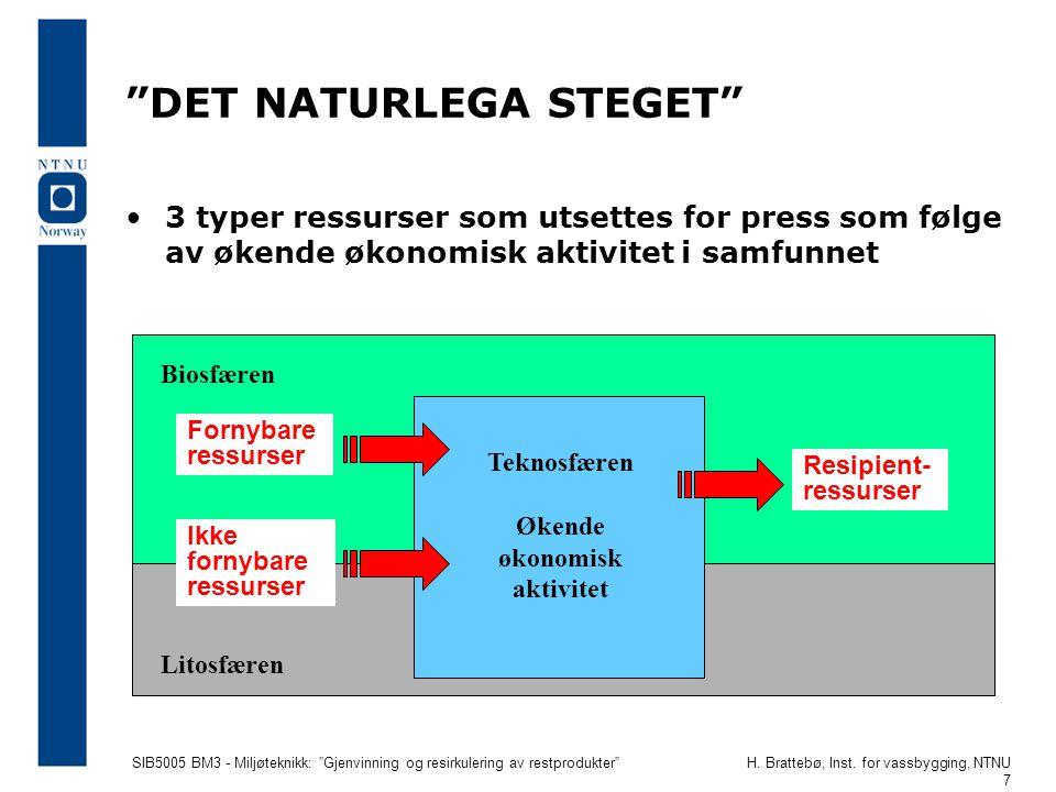 """SIB5005 BM3 - Miljøteknikk: """"Gjenvinning og resirkulering av restprodukter""""H. Brattebø, Inst. for vassbygging, NTNU 7 """"DET NATURLEGA STEGET"""" 3 typer r"""