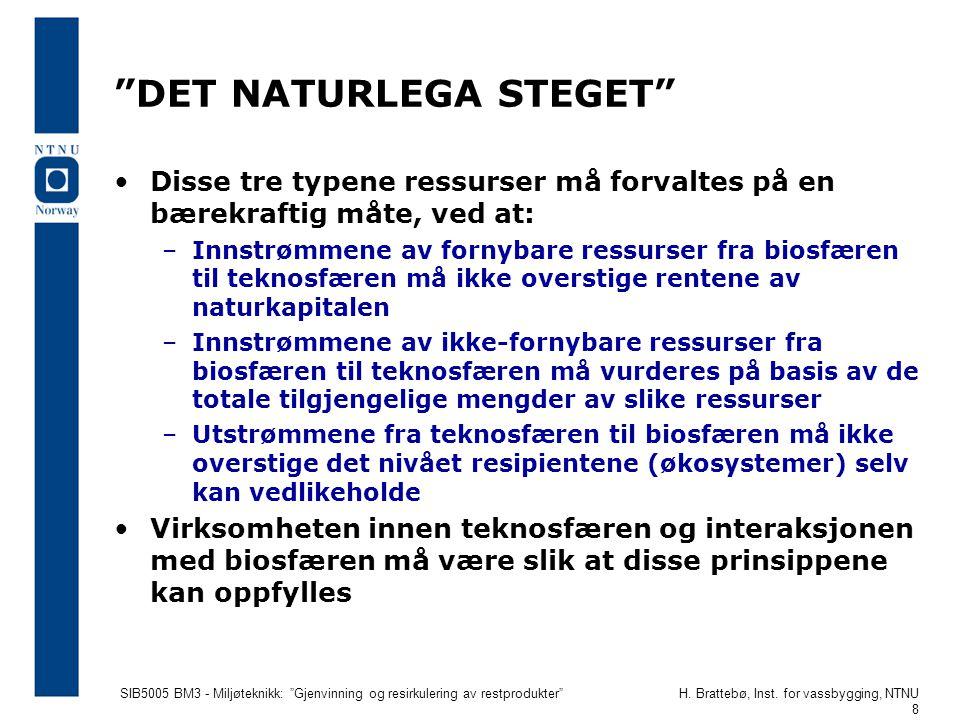 """SIB5005 BM3 - Miljøteknikk: """"Gjenvinning og resirkulering av restprodukter""""H. Brattebø, Inst. for vassbygging, NTNU 8 """"DET NATURLEGA STEGET"""" Disse tre"""