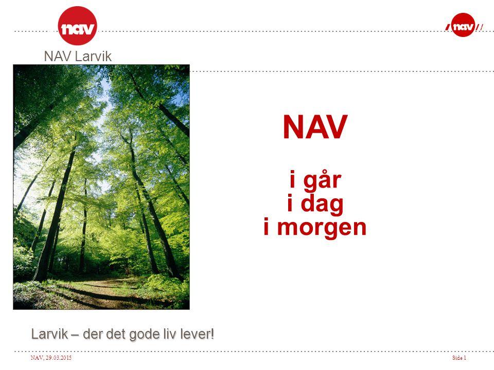 NAV, 29.03.2015Side 2 NAV Larvik  107 ansatte, 99 årsverk  Enhetlig ledelse  50/50 kommunale og statlige ansatte.