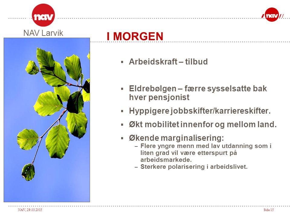 NAV, 29.03.2015Side 15 I MORGEN  Arbeidskraft – tilbud  Eldrebølgen – færre sysselsatte bak hver pensjonist  Hyppigere jobbskifter/karriereskifter.