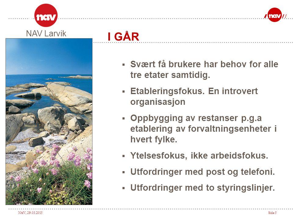 NAV, 29.03.2015Side 6 I GÅR  Problemer med etableringsløpet på grunn av nye bygg.