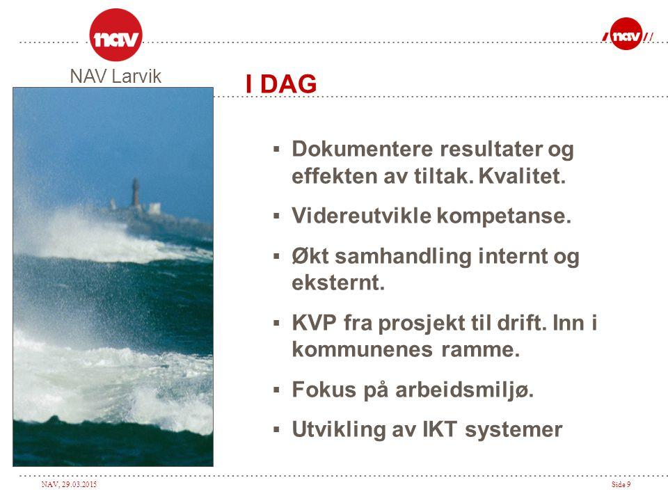 NAV, 29.03.2015Side 10 I DAG  NAV er på rett vei.