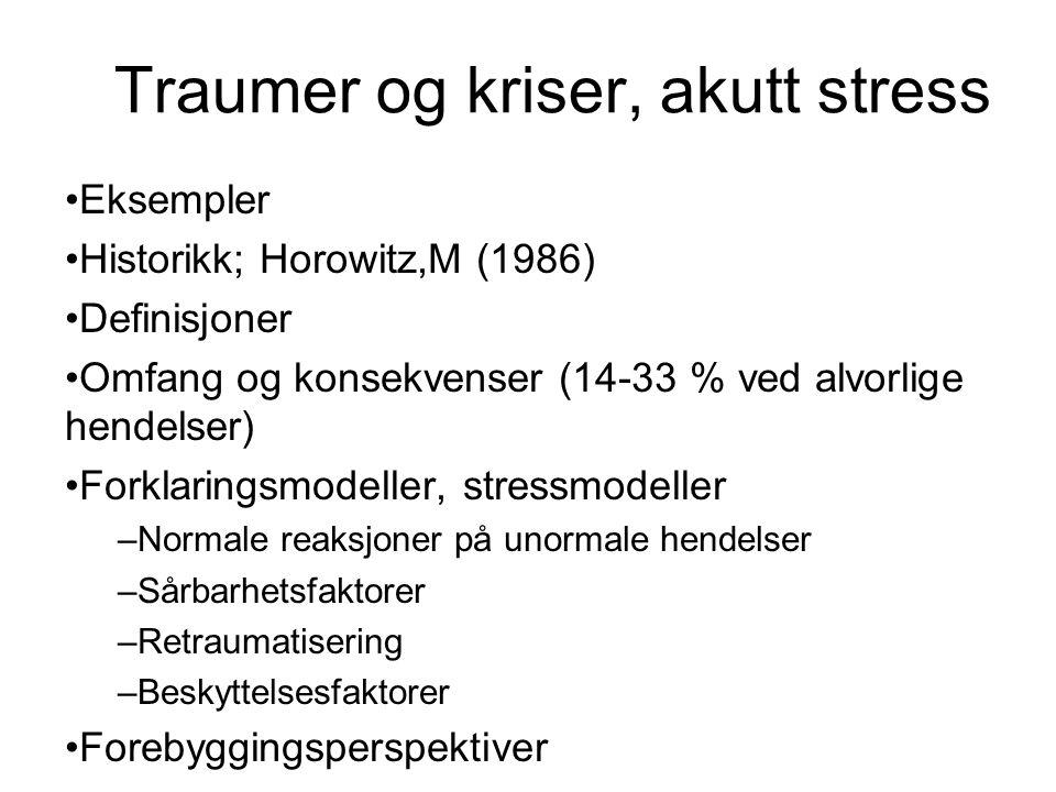 Traumer og kriser, akutt stress Eksempler Historikk; Horowitz,M (1986) Definisjoner Omfang og konsekvenser (14-33 % ved alvorlige hendelser) Forklarin