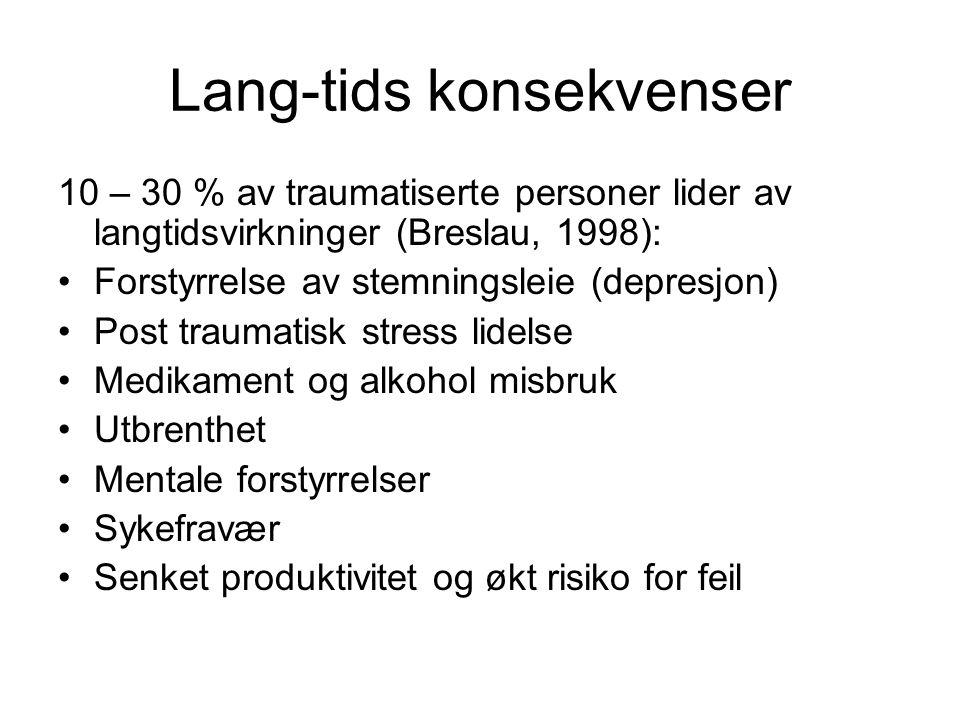 Lang-tids konsekvenser 10 – 30 % av traumatiserte personer lider av langtidsvirkninger (Breslau, 1998): Forstyrrelse av stemningsleie (depresjon) Post traumatisk stress lidelse Medikament og alkohol misbruk Utbrenthet Mentale forstyrrelser Sykefravær Senket produktivitet og økt risiko for feil