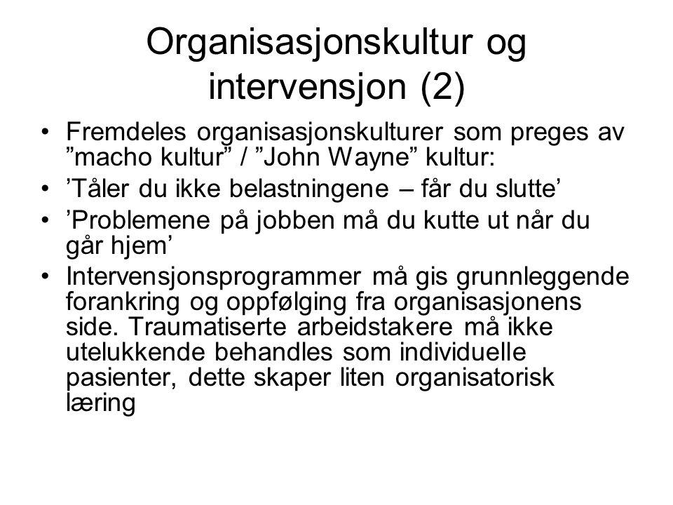 """Organisasjonskultur og intervensjon (2) Fremdeles organisasjonskulturer som preges av """"macho kultur"""" / """"John Wayne"""" kultur: 'Tåler du ikke belastninge"""
