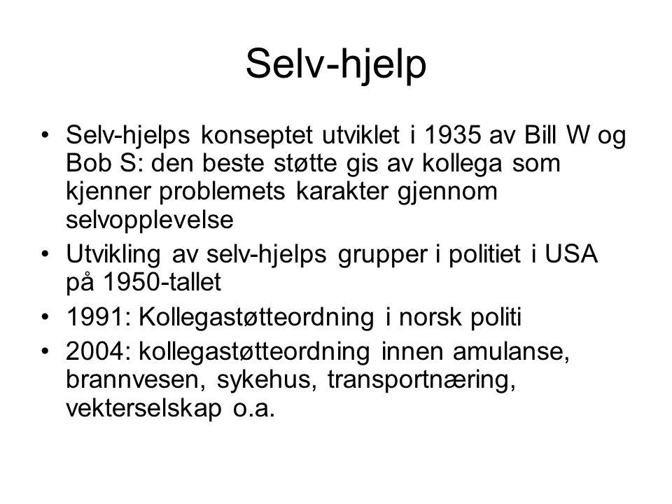 Selv-hjelp Selv-hjelps konseptet utviklet i 1935 av Bill W og Bob S: den beste støtte gis av kollega som kjenner problemets karakter gjennom selvopple