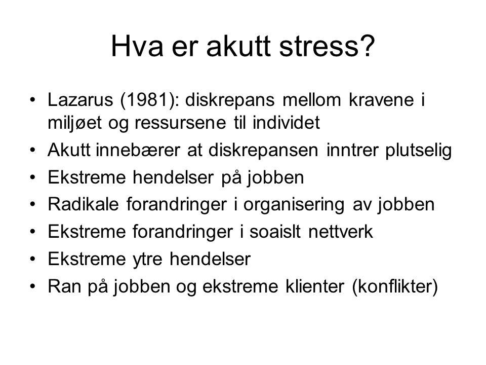 Hva er akutt stress? Lazarus (1981): diskrepans mellom kravene i miljøet og ressursene til individet Akutt innebærer at diskrepansen inntrer plutselig