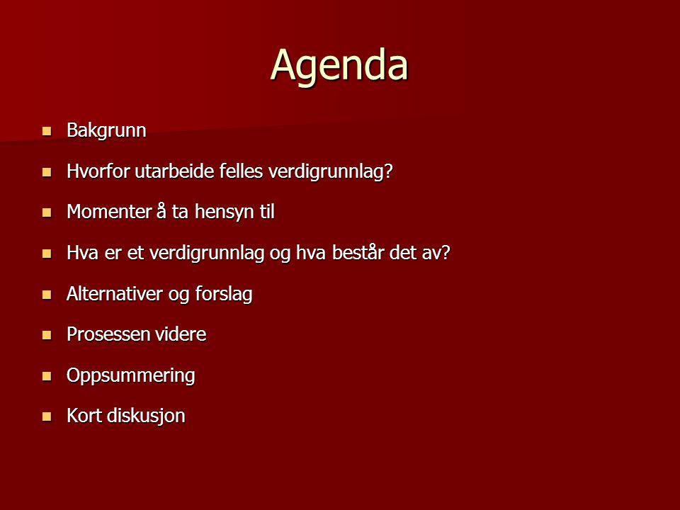 Agenda Bakgrunn Bakgrunn Hvorfor utarbeide felles verdigrunnlag? Hvorfor utarbeide felles verdigrunnlag? Momenter å ta hensyn til Momenter å ta hensyn