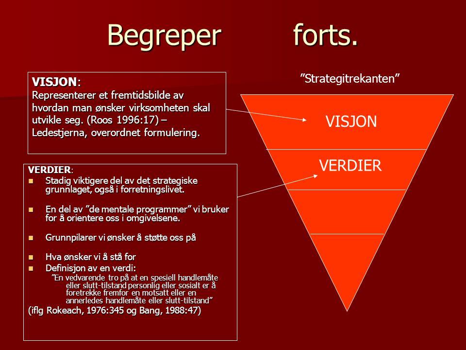 Begreper forts. VISJON: Representerer et fremtidsbilde av hvordan man ønsker virksomheten skal utvikle seg. (Roos 1996:17) – Ledestjerna, overordnet f