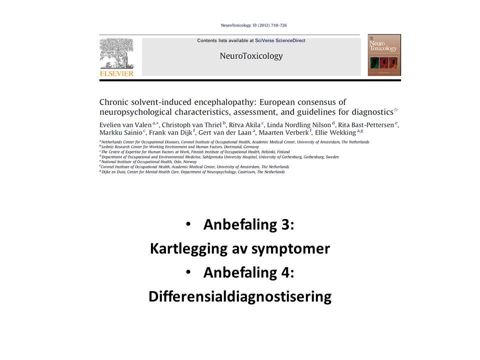 Anbefaling 3: Kartlegging av symptomer Anbefaling 4: Differensialdiagnostisering