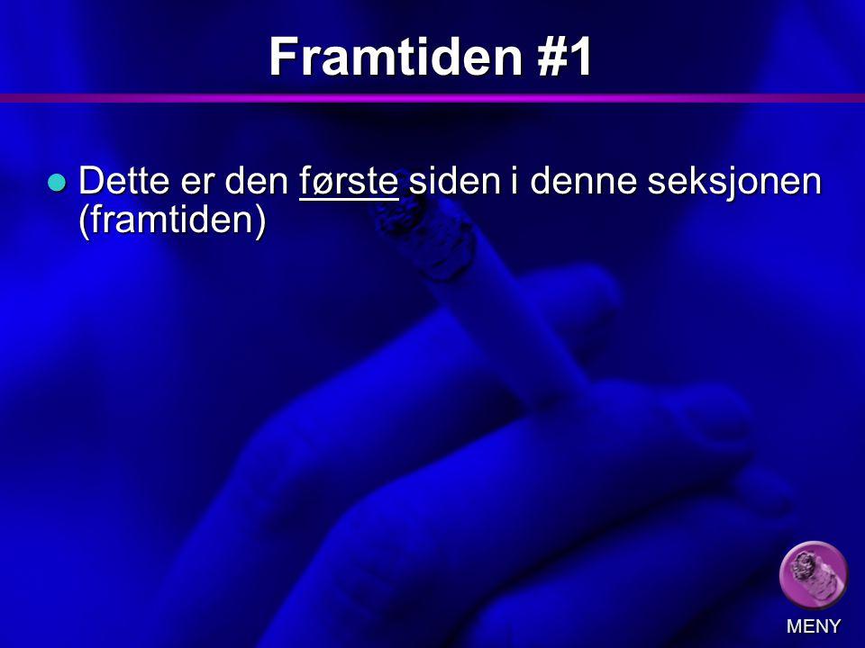 Slide 8 Framtiden #1 Dette er den første siden i denne seksjonen (framtiden) Dette er den første siden i denne seksjonen (framtiden) MENY