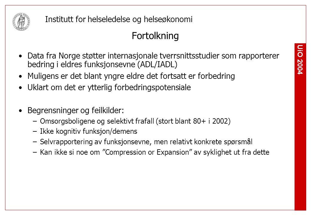 UiO 2004 Institutt for helseledelse og helseøkonomi Fortolkning Data fra Norge støtter internasjonale tverrsnittsstudier som rapporterer bedring i eldres funksjonsevne (ADL/IADL) Muligens er det blant yngre eldre det fortsatt er forbedring Uklart om det er ytterlig forbedringspotensiale Begrensninger og feilkilder: –Omsorgsboligene og selektivt frafall (stort blant 80+ i 2002) –Ikke kognitiv funksjon/demens –Selvrapportering av funksjonsevne, men relativt konkrete spørsmål –Kan ikke si noe om Compression or Expansion av syklighet ut fra dette