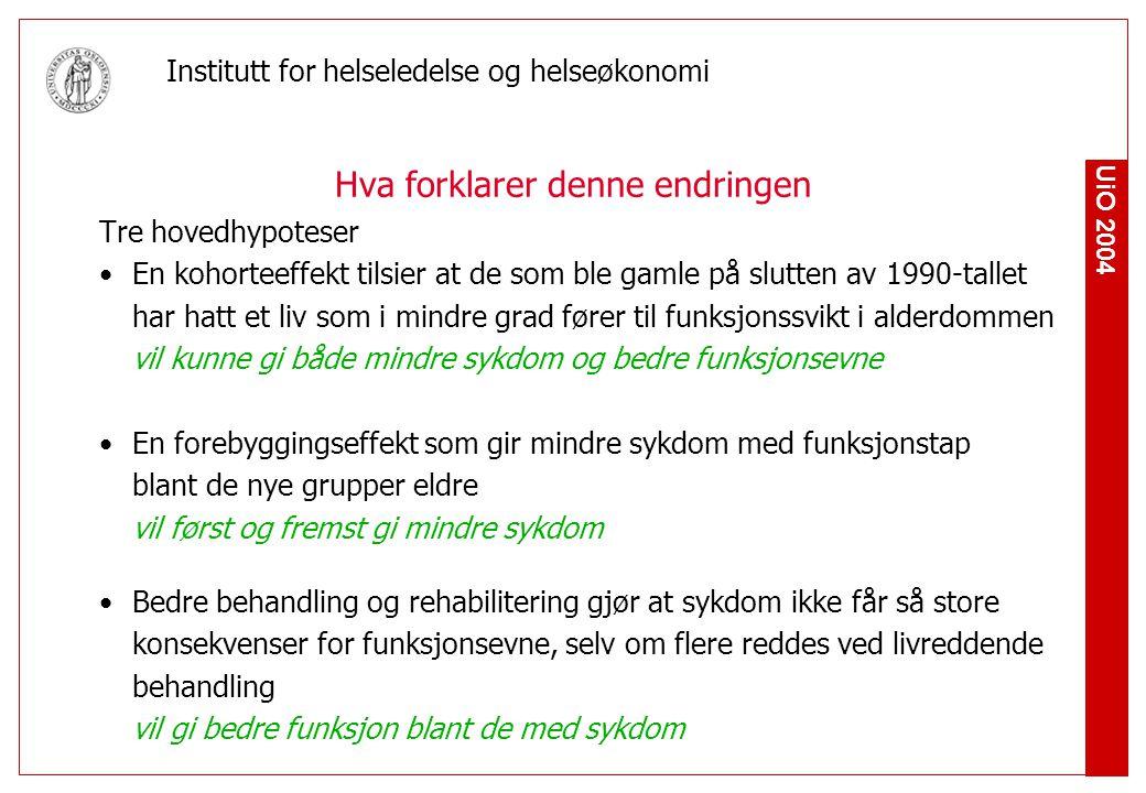 UiO 2004 Institutt for helseledelse og helseøkonomi Hva forklarer denne endringen Tre hovedhypoteser En kohorteeffekt tilsier at de som ble gamle på s