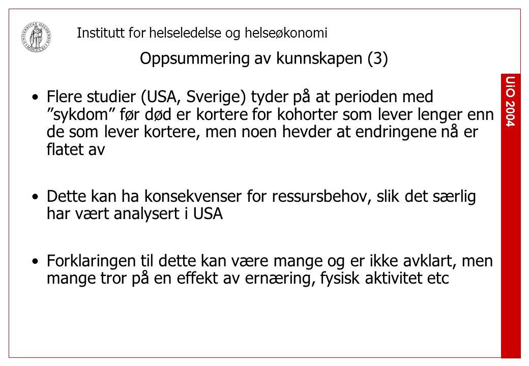 UiO 2004 Institutt for helseledelse og helseøkonomi Funksjonsforbedring blant gamle i Norge Datagrunnlag Helseundersøkelser og levekårsundersøkelser fra SSB (Tverrsnittsstudier) Tall fra sykehjem Nedsatt funksjon definert som å ikke greie en eller flere av tre ADL/IADL- aktiviteter antall som bor i sykehjem (aldershjem) Analyserte to grupper Alle over 67 år Alle over 80 år