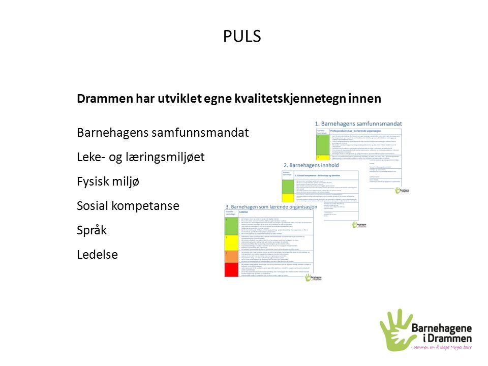 Drammen har utviklet egne kvalitetskjennetegn innen Barnehagens samfunnsmandat Leke- og læringsmiljøet Fysisk miljø Sosial kompetanse Språk Ledelse PU