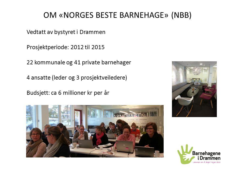 Vedtatt av bystyret i Drammen Prosjektperiode: 2012 til 2015 22 kommunale og 41 private barnehager 4 ansatte (leder og 3 prosjektveiledere) Budsjett: