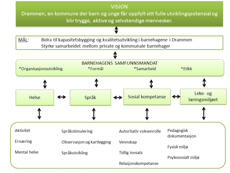 BESØK FRA OECD (Organization for Economic Co-operation and development) OECD besøkte to barnehager: En kommunal barnehage med en stor andel minoritetsspråklige barn En privat barnehage Fjell barnehage (kommunal)Klokkergaarden Natur- og kultur barnehage (privat)