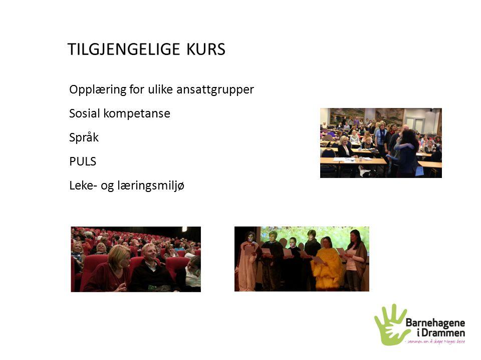 TILGJENGELIGE KURS Opplæring for ulike ansattgrupper Sosial kompetanse Språk PULS Leke- og læringsmiljø
