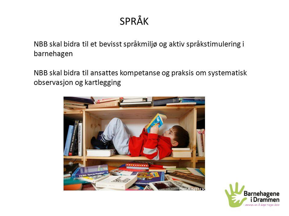 SPRÅK NBB skal bidra til et bevisst språkmiljø og aktiv språkstimulering i barnehagen NBB skal bidra til ansattes kompetanse og praksis om systematisk