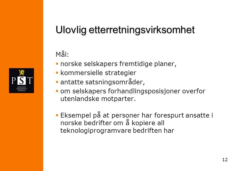 12 Ulovlig etterretningsvirksomhet Mål:  norske selskapers fremtidige planer,  kommersielle strategier  antatte satsningsområder,  om selskapers f