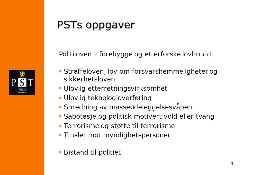 4 PSTs oppgaver Politiloven - forebygge og etterforske lovbrudd  Straffeloven, lov om forsvarshemmeligheter og sikkerhetsloven  Ulovlig etterretning