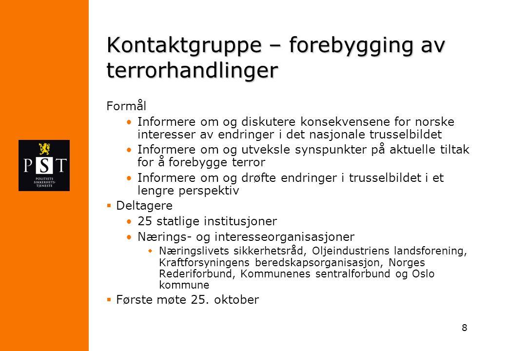 8 Kontaktgruppe – forebygging av terrorhandlinger Formål Informere om og diskutere konsekvensene for norske interesser av endringer i det nasjonale tr