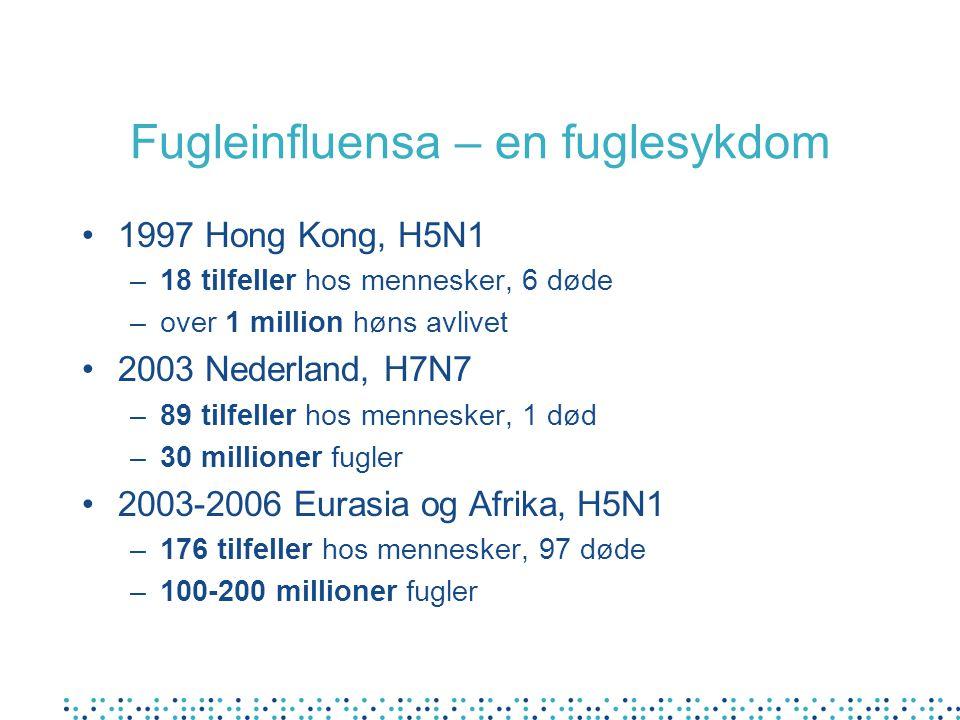 Fugleinfluensa – en fuglesykdom 1997 Hong Kong, H5N1 –18 tilfeller hos mennesker, 6 døde –over 1 million høns avlivet 2003 Nederland, H7N7 –89 tilfell