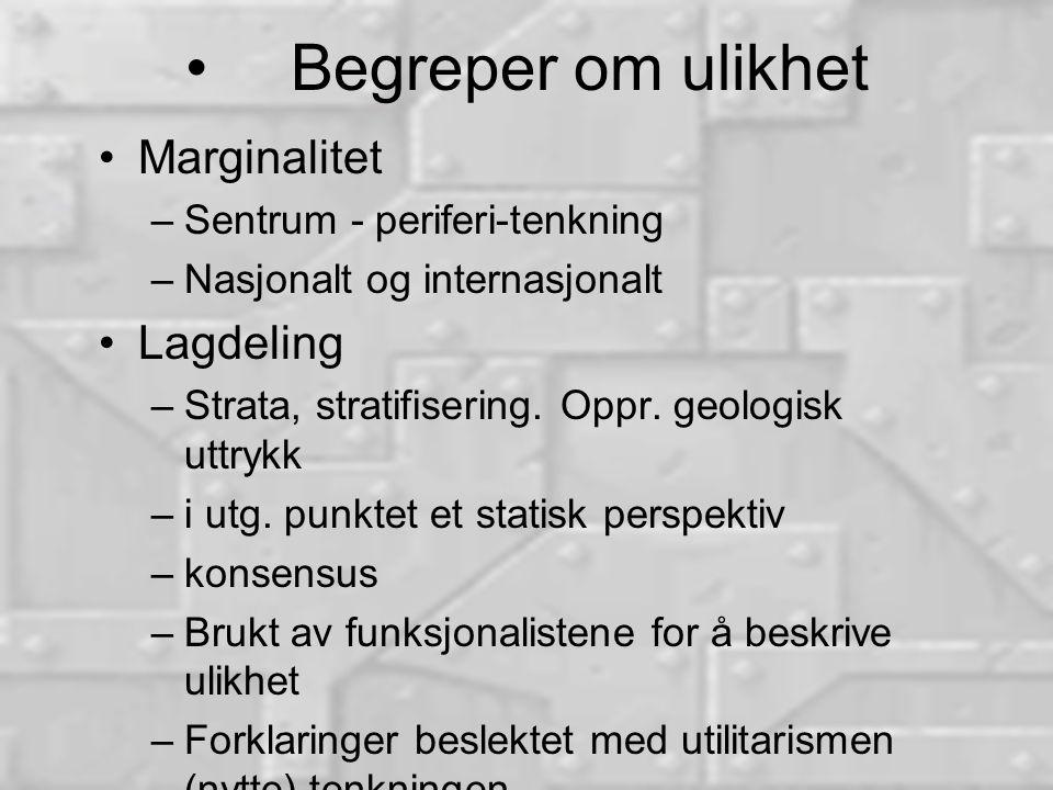 Begreper om ulikhet Marginalitet –Sentrum - periferi-tenkning –Nasjonalt og internasjonalt Lagdeling –Strata, stratifisering.