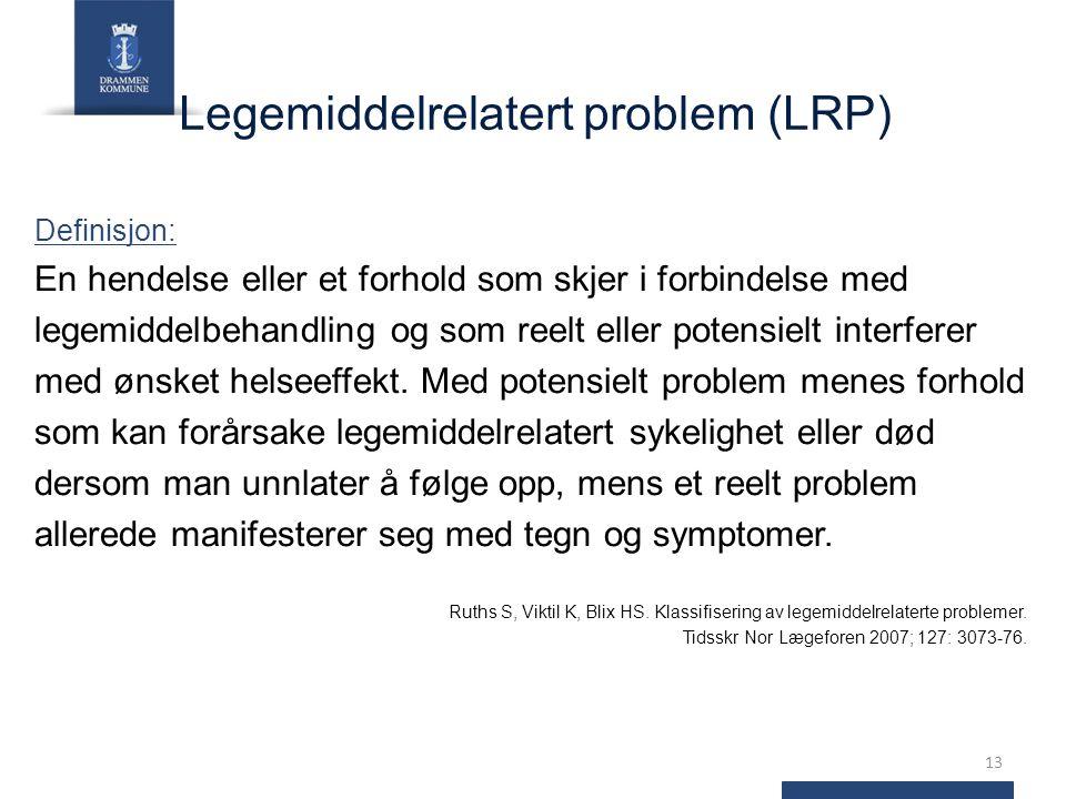 Legemiddelrelatert problem (LRP) Definisjon: En hendelse eller et forhold som skjer i forbindelse med legemiddelbehandling og som reelt eller potensielt interferer med ønsket helseeffekt.