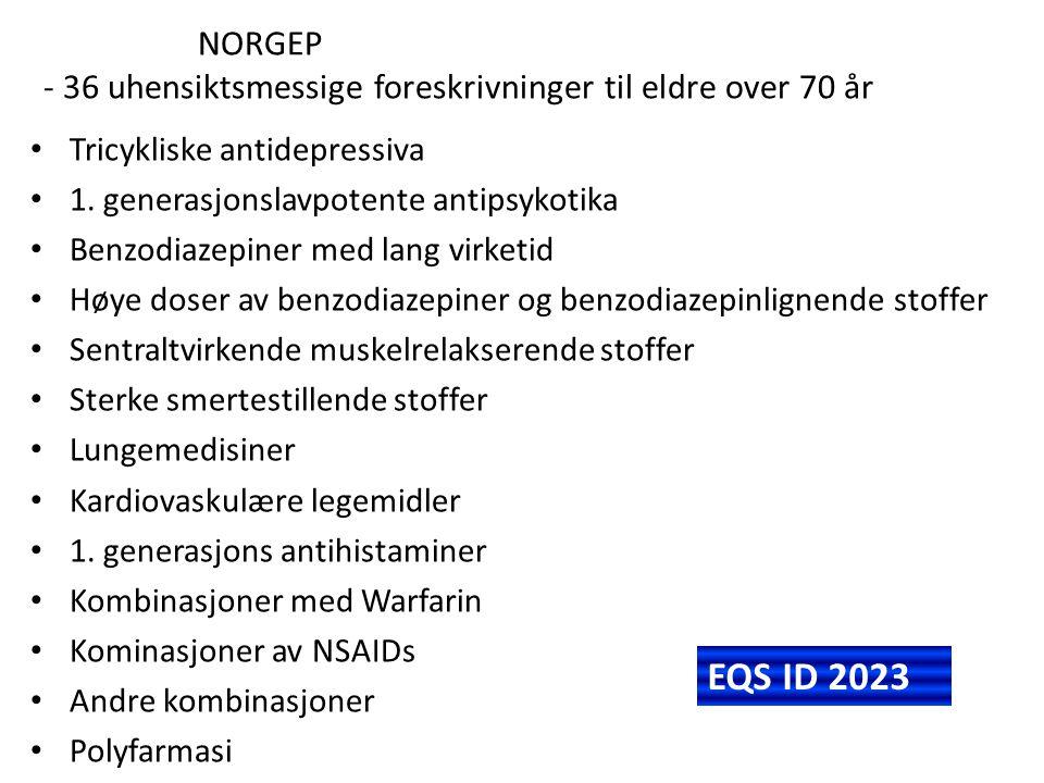NORGEP - 36 uhensiktsmessige foreskrivninger til eldre over 70 år Tricykliske antidepressiva 1. generasjonslavpotente antipsykotika Benzodiazepiner me