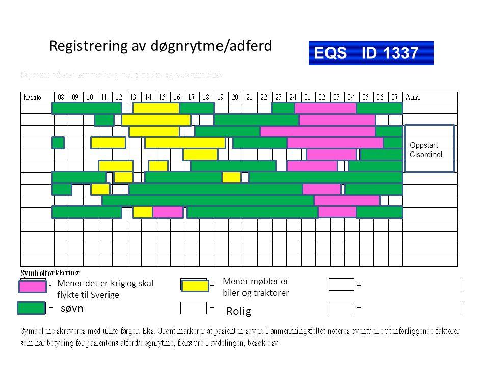 Registrering av døgnrytme/adferd søvn Mener det er krig og skal flykte til Sverige Mener møbler er biler og traktorer Rolig Oppstart Cisordinol EQS ID