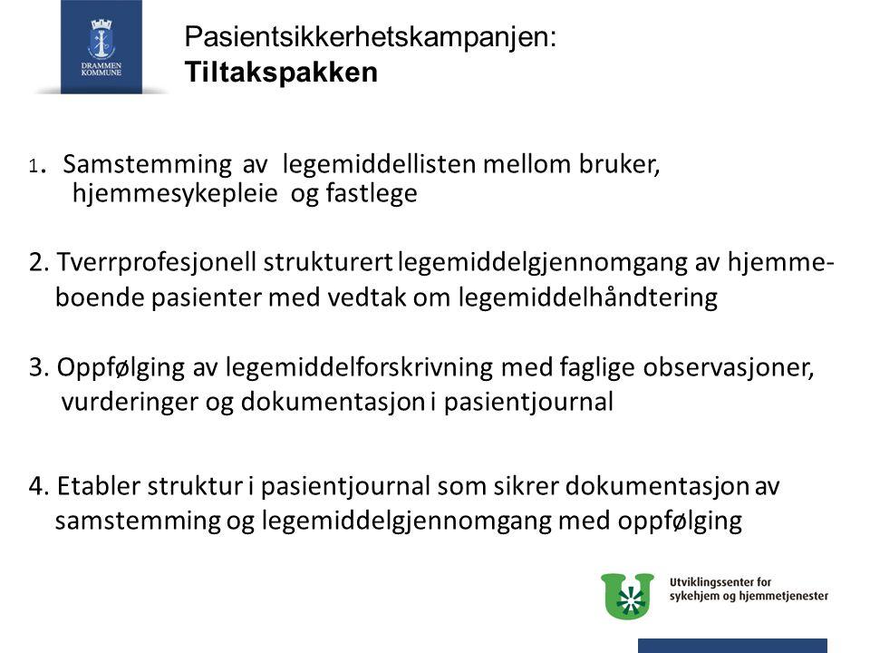 Pasientsikkerhetskampanjen: Tiltakspakken 1. Samstemming av legemiddellisten mellom bruker, hjemmesykepleie og fastlege 2. Tverrprofesjonell strukture