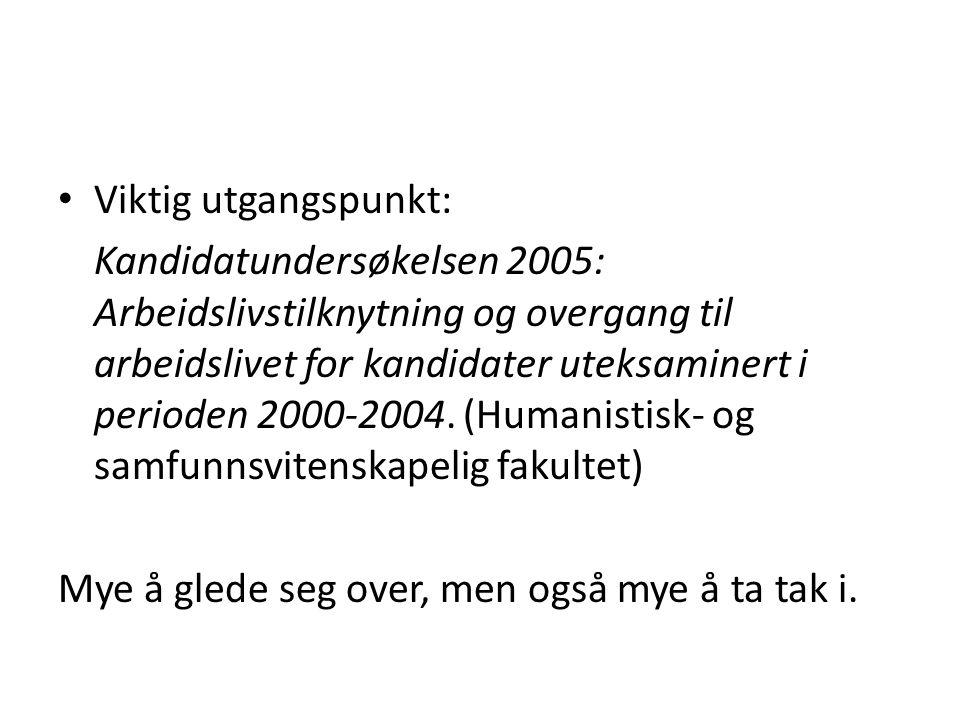 Viktig utgangspunkt: Kandidatundersøkelsen 2005: Arbeidslivstilknytning og overgang til arbeidslivet for kandidater uteksaminert i perioden 2000-2004.