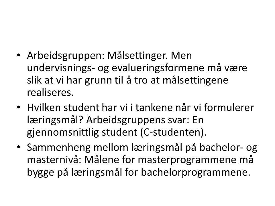 Resultat: Et utkast til felles læringsmål for alle fakultetets bachelor- og masterprogrammer.