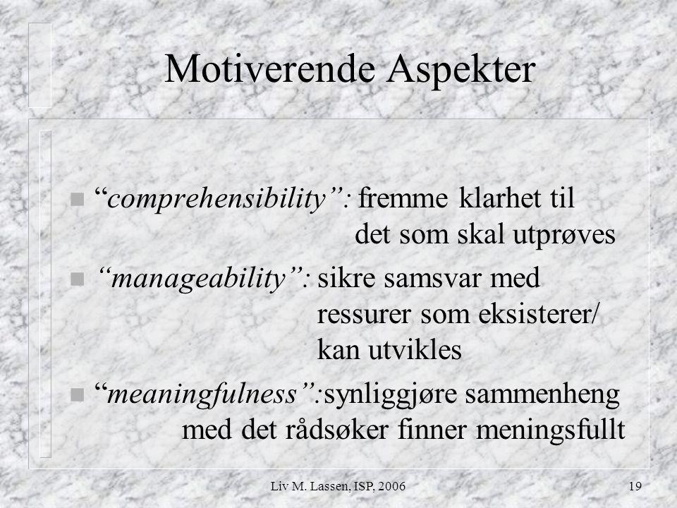 """Liv M. Lassen, ISP, 200619 Motiverende Aspekter n """"comprehensibility"""": fremme klarhet til det som skal utprøves n """"manageability"""": sikre samsvar med r"""