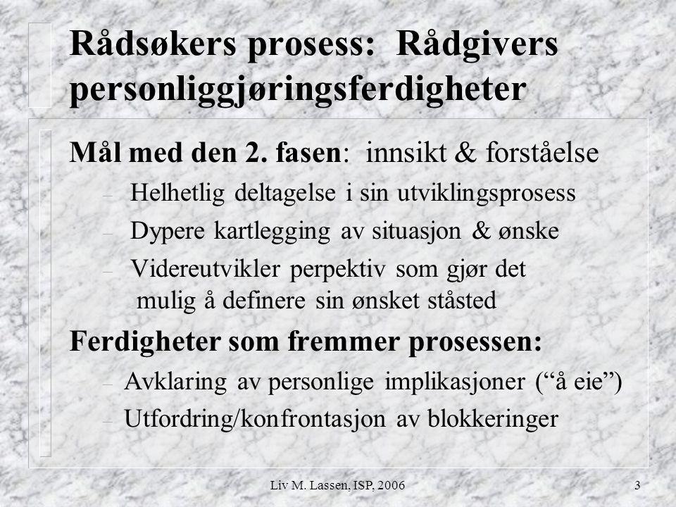 Liv M. Lassen, ISP, 20063 Rådsøkers prosess: Rådgivers personliggjøringsferdigheter Mål med den 2. fasen: innsikt & forståelse – Helhetlig deltagelse