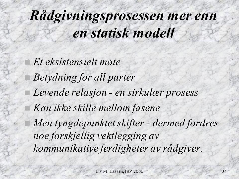 Liv M. Lassen, ISP, 200634 Rådgivningsprosessen mer enn en statisk modell n Et eksistensielt møte n Betydning for all parter n Levende relasjon - en s